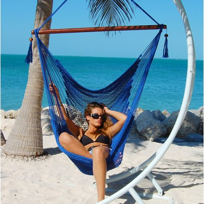 """Hanging chair Large"" Caribbean Hammocks Blue - By the hammock shop of Canada"