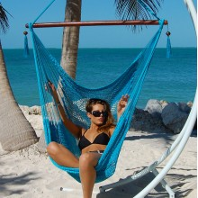 """Hanging chair Large"" Caribbean Hammocks Light Blue - By the hammock shop of Canada"