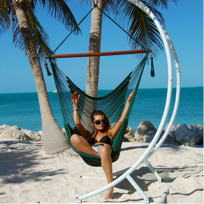 """Hanging chair Large"" Caribbean Hammocks Green - By the hammock shop of Canada"
