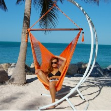 """Hanging chair Large"" Caribbean Hammocks Orange - By the hammock shop of Canada"