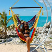 """Hanging chair Large"" Caribbean Hammocks Rainbow - By the hammock shop of Canada"
