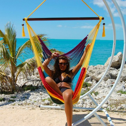 """Hanging chair Large"" Caribbean Hammocks Rainbow - By the hammock shop of Canada"