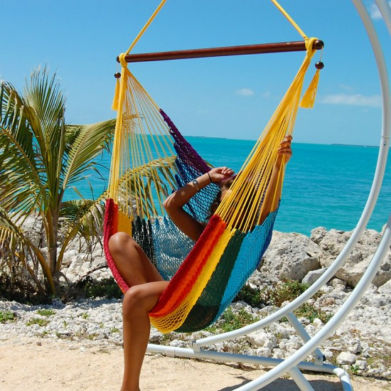 with footrest hanging dp amazon caribbean com yellow large hammocks polyester hammock chair inch