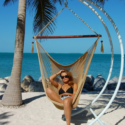 """Hanging chair Large"" Caribbean Hammocks Tan - By the hammock shop of Canada"