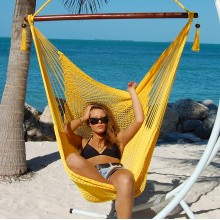 """Hanging chair Large"" Caribbean Hammocks Yellow - By the hammock shop of Canada"