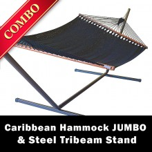 CARIBBEAN HAMMOCK JUMBO (Black) and Steel Stand (Bronze) - COMBO