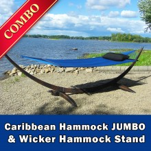 CARIBBEAN HAMMOCK JUMBO (Blue) and WICKER STAND (Brown) - COMBO