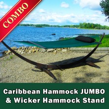 CARIBBEAN HAMMOCK JUMBO (Green) and WICKER STAND (Brown) - COMBO