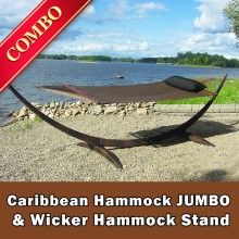 CARIBBEAN HAMMOCK JUMBO (Mocha) and WICKER STAND (Brown) - COMBO