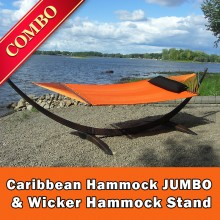 CARIBBEAN HAMMOCK JUMBO (Orange) and WICKER STAND (Brown) - COMBO