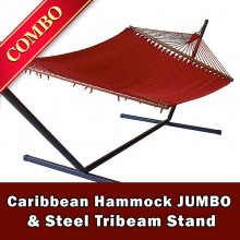 CARIBBEAN HAMMOCK JUMBO (Red) and Steel Stand (Bronze) - COMBO