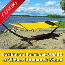 CARIBBEAN HAMMOCK JUMBO (Yellow) and WICKER STAND (Brown) - COMBO