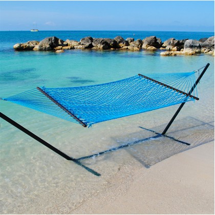 Caribbean Rope Hammock (Light Blue) - By the Hammock Shop of Canada