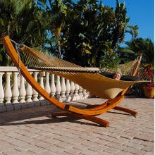 Cypress Wood Arc Hammock Stand (STAINED) - By the hammock shop of Canada