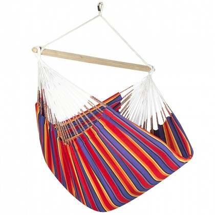 Colombian Hammock Chair Lounger - Red & Blue Stripe