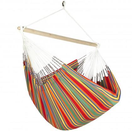 Colombian Hammock Chair Lounger - Red & Green Stripe