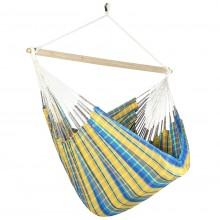 Colombian Hammock Chair Lounger - Yellow & Blue Plaid