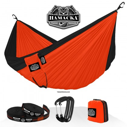 TRAVEL HAMMOCK SET (TANGERINE-BLACK) HAMACKA