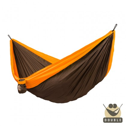 """Double hammock for travel"" La Siesta Colibri Orange - By the Hammock Shop of Canada"