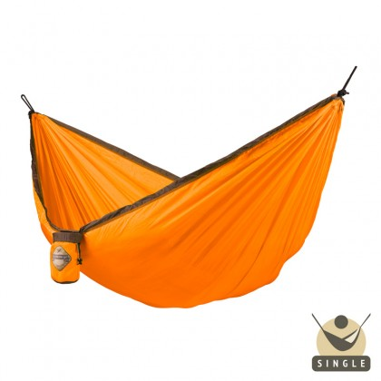 """Single hammock for travel"" La Siesta Colibri Orange - By the Hammock Shop of Canada"