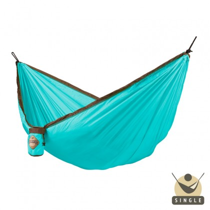 """Single hammock for travel"" La Siesta Colibri Turquoise - By the Hammock Shop of Canada"